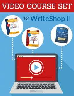 Bundled Set includes Video Course for WriteShop II, WriteShop II Student Workbook, Teacher's Manual for WriteShop I & II, and Blue Book of Grammar and Punctuation by Jane Straus