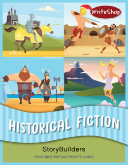 Historical Fiction StoryBuilders let kids mix and match printable writing prompt cards to write exciting stories based on real historical eras and events!