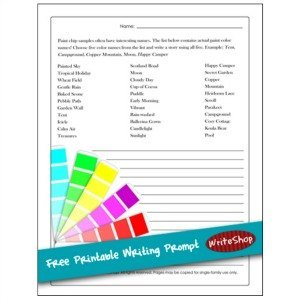 This free printable writing prompt takes its inspiration from paint chip color names!
