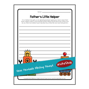 Use these Father's Day free printables to describe the robot he would want the most and the five chores this new robot will perform.