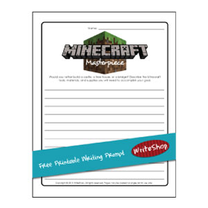 Minecraft Free printable writing prompt