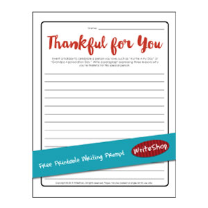 "This ""thankful"" printable writing prompt invites kids to invent a holiday that celebrates one special person"