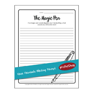 With this free printable writing prompt, your children imagine using a magic pen that disguises their handwriting. How will they use this special pen?