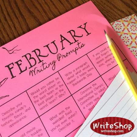 February writing prompt calendar for elementary grades • free from WriteShop