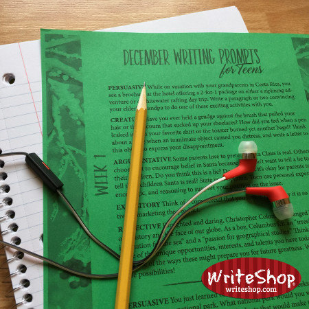 December writing prompt calendar for teens grades 7-12 • free from WriteShop