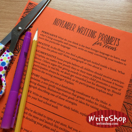Teens can practice daily with one of five different kinds of writing with this free November writing prompt calendar from WriteShop.