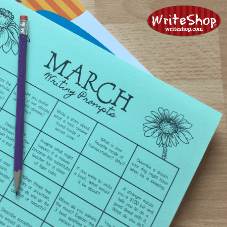March writing prompt calendar for elementary grades • free from WriteShop