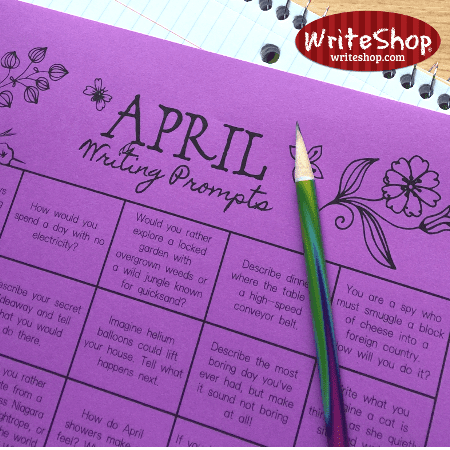 April writing prompt calendar for elementary grades • free from WriteShop