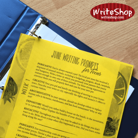 June writing prompt calendar for teens grades 7-12 • free from WriteShop