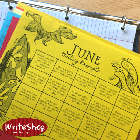 June writing prompt calendar for elementary grades • free from WriteShop
