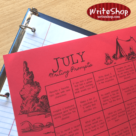 July writing prompt calendar for teens grades 6-12• free from WriteShop
