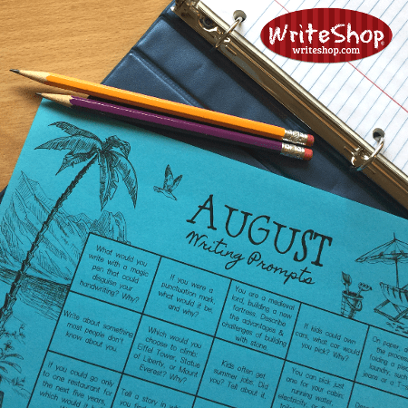 August writing prompt calendar for elementary grades • free from WriteShop