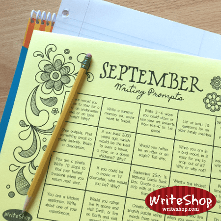 September writing prompt calendar for elementary grades • free from WriteShop