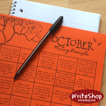 October writing prompt calendar for elementary grades • free from WriteShop