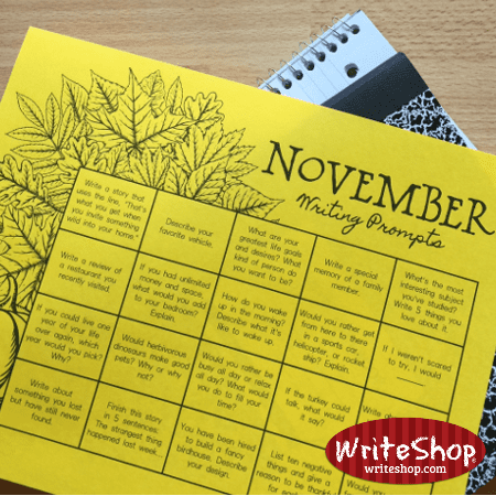 November writing prompt calendar for elementary grades • free from WriteShop