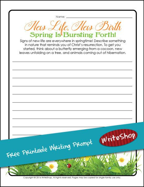 This spring writing prompt printable will give your children a chance to write about something from nature that reminds them of Christ's resurrection. Maybe their thoughts will turn to hatching chicks or daffodils in bloom!