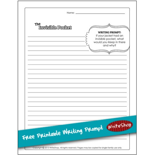 "What's in your child's ""invisible pocket""? Download this free printable writing prompt and invite him to write about this secret pocket."