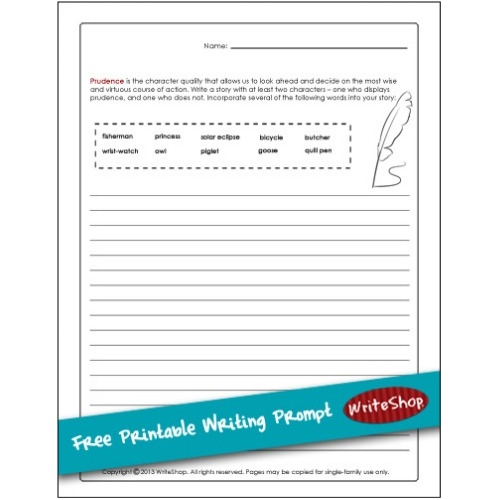 Invite kids to explore what prudence means |Free Printable Writing Prompt