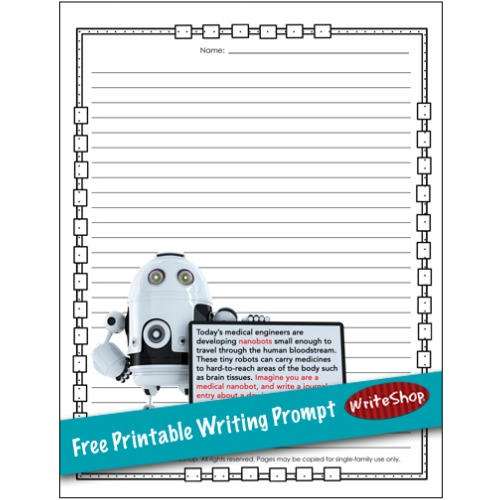 Free robot-themed printable writing prompt