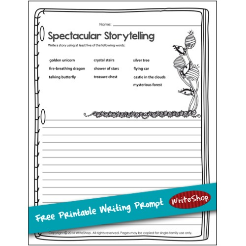 This free printable story prompt from WriteShop invites kids to choose words from a word bank and write a magical, mysterious, enchanted story!