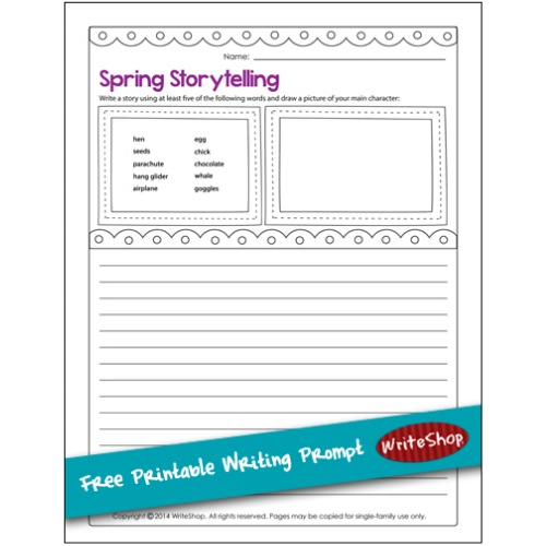Free spring writing prompt from WriteShop! Sharpen your child's storytelling skills!