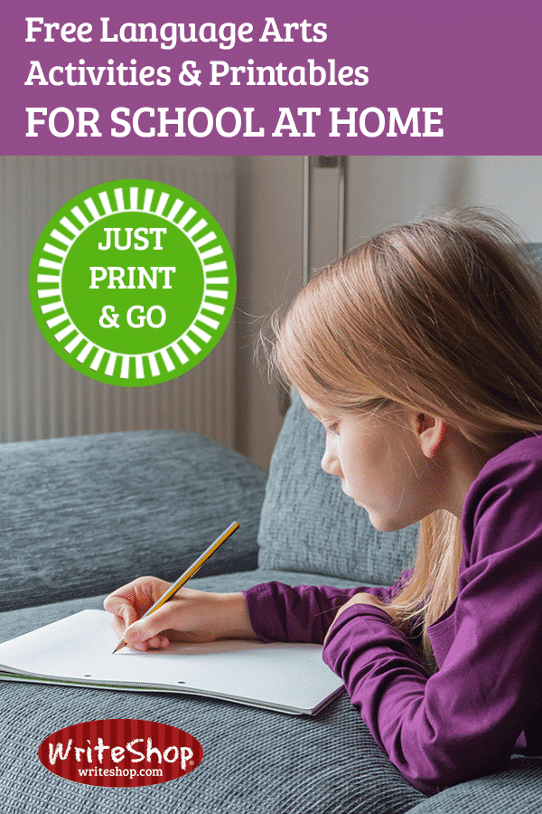 Free language arts activities & printables to do at home while school is cancelled | School's cancelled! And now you're doing school at home. Download these free language arts printables and activities for elementary and teens.