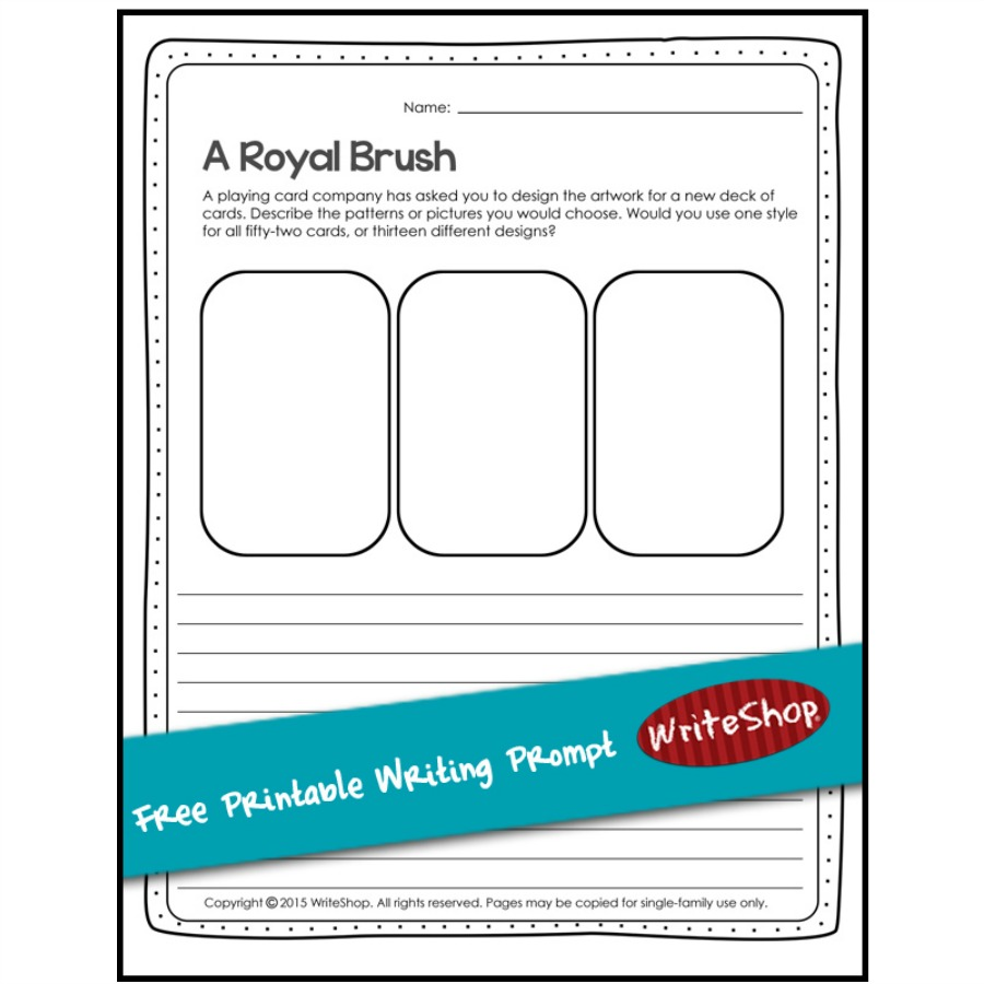 This month's free printable combines art and writing as kids create a design for a playing card and describe it in detail.